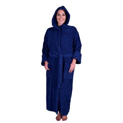Lowrey Natural Soft Cotton Hooded Bathrobe Color: Navy Blue
