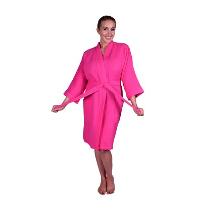 Lowrey Natural Soft Cotton Waffle Kimono Bathrobe Color: Hot Pink