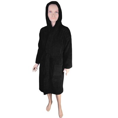 Solid Kids Bathrobe Color: Black