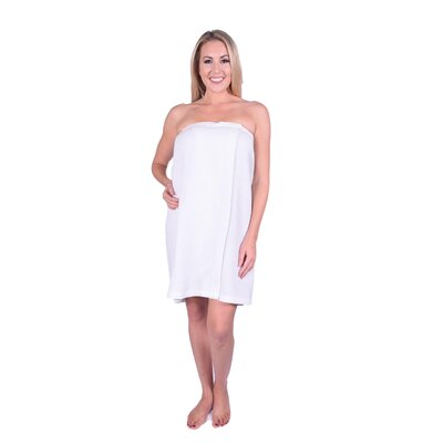 Solid Terry Waffle Spa Body Wrap Color: White