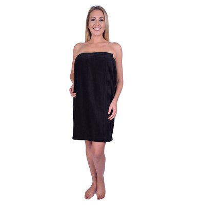 Solid Terry Spa Body Wrap Color: Black