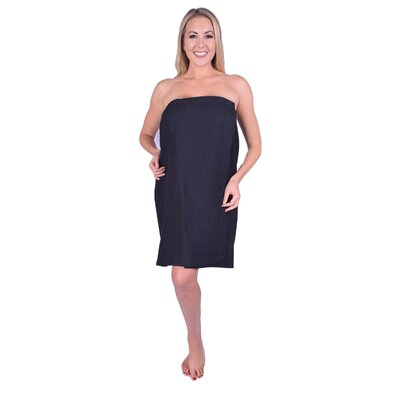 Solid Terry Waffle Spa Body Wrap Color: Black