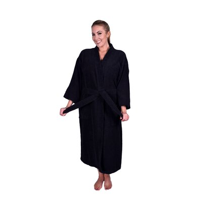 Solid Natural Soft Cotton Kimono Bathrobe Color: Black