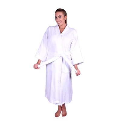 Solid Natural Soft Cotton Kimono Bathrobe Color: White