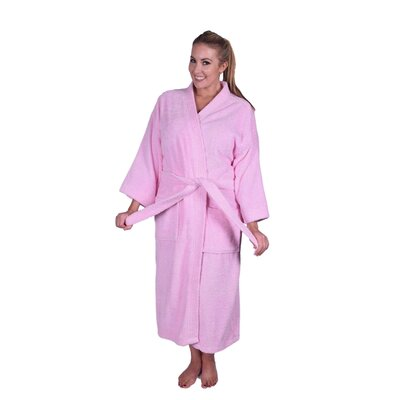 Solid Natural Soft Cotton Kimono Bathrobe Color: Light Pink