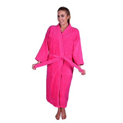Solid Natural Soft Cotton Kimono Bathrobe Color: Hot Pink