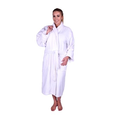Lowrey Natural Soft Cotton Shawl Collar Bathrobe Color: White