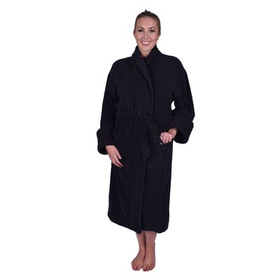 Lowrey Natural Soft Cotton Shawl Collar Bathrobe Color: Black