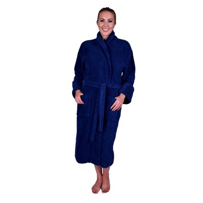 Lowrey Natural Soft Cotton Shawl Collar Bathrobe Color: Navy Blue