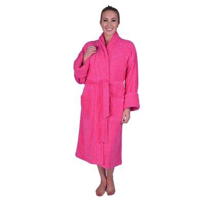 Lowrey Natural Soft Cotton Shawl Collar Bathrobe Color: Hot Pink