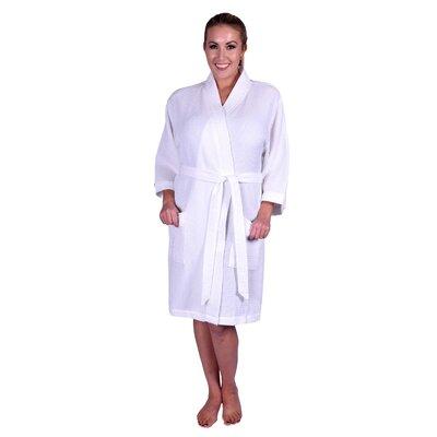 Lowrey Natural Soft Cotton Waffle Kimono Bathrobe Color: White