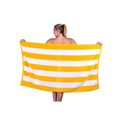 Striped Luxury Cabana Beach Towel Color: Yellow