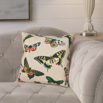 Swan Valley Butterflies Animal Outdoor Throw Pillow Size: 20 H x 20 W, Color: Taupe
