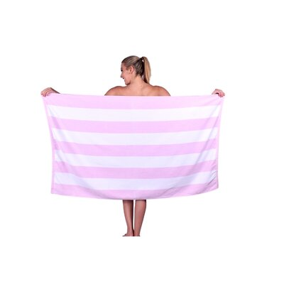 Striped Luxury Cabana Beach Towel Color: Pink