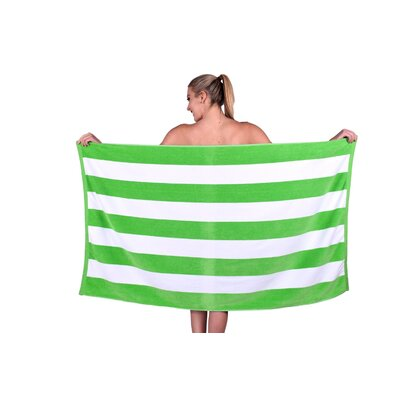 Striped Luxury Cabana Beach Towel Color: Lime Green