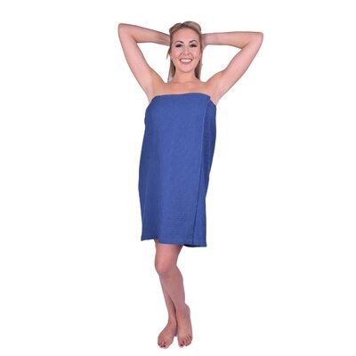 Solid Terry Waffle Spa Body Wrap Color: Navy Blue