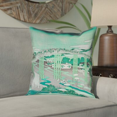 Enya Japanese Bridge Square Linen Pillow Cover Color: Green, Size: 18 x 18