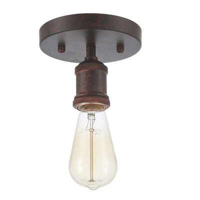 Draughn 1-Light Semi Flush Mount Fixture Finish: Rust