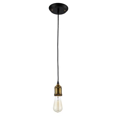 Draughn Vintage 1-Light Mini Pendant Fixture Finish: Antique Brass