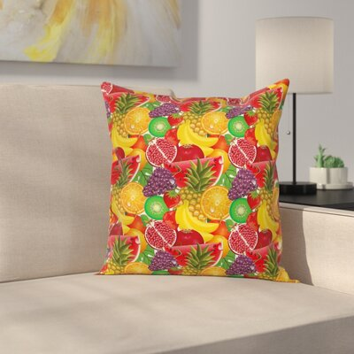 Fresh Fruits Square Pillow Cover Size: 16 x 16