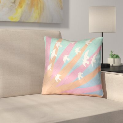 Kalie Birds and Sun Outdoor Throw Pillow Color: Orange/Pink/Blue, Size: 18 H x 18 W