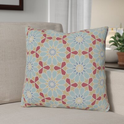 Neiman 100% Cotton Throw Pillow Size: 20 H x 20 W x 3.5 D, Color: Aqua, Fill Material: Down Fill