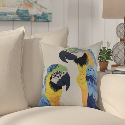 Faynett Macaw Close Up Indoor/Outdoor Throw Pillow Color: Mid Blue, Size: 16 x 16