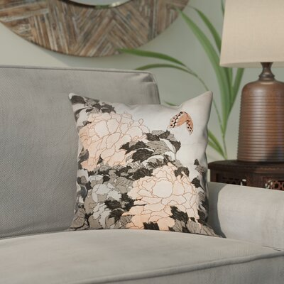 Clair Peonies with Butterfly Outdoor Throw Pillow Color: Orange, Size: 16 x 16