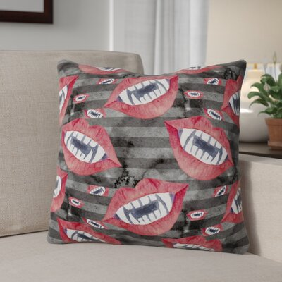 Watecolor Halloween Vampire Teeth Outdoor Throw Pillow