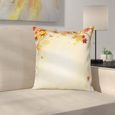 Fall Decor Autumn Leaves Tree Square Pillow Cover Size: 24 x 24