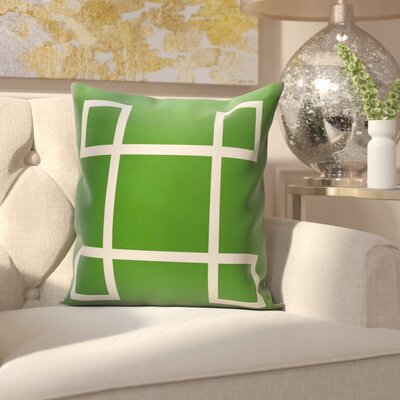 Harford Geometric Outdoor Throw pillow Color: Leaf, Size: 18 H x 18 W x 1 D