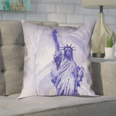 Houck Modern Watercolor Statue of Liberty Pillow Cover Size: 18 H x 18 W