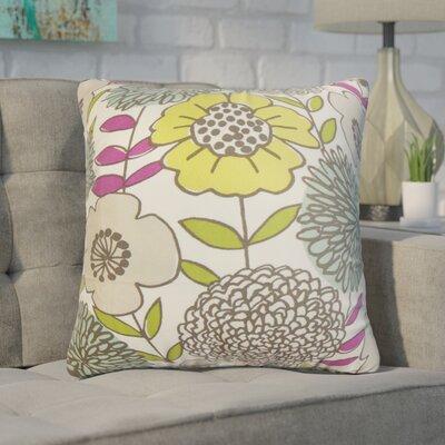 Zenobia Floral Cotton Throw Pillow Color: Yellow