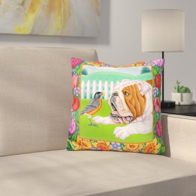 Robin Bulldog Throw Pillow