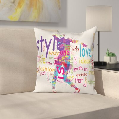 Girls Room Decor Stylish Woman Square Pillow Cover Size: 18 x 18