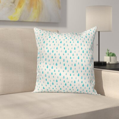 Watercolor Effect Rain Square Pillow Cover Size: 16 x 16