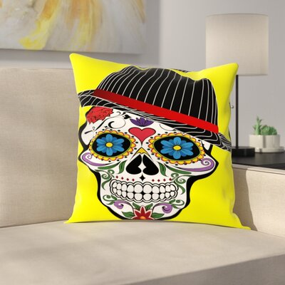 Hipster Horror Skull Halloween Throw Pillow Size: 14 H x 14 W x 2 D, Color: Yellow