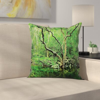 Nature Theme Jungle Square Pillow Cover Size: 16 x 16