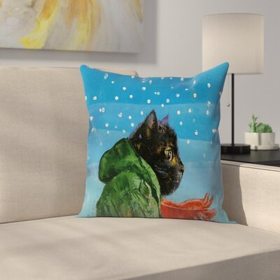 Michael Creese Winter Kitten Throw Pillow Size: 18 x 18