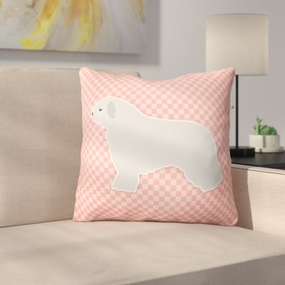 Spanish Water Dog Indoor/Outdoor Throw Pillow Size: 18 H x 18 W x 3 D, Color: Pink