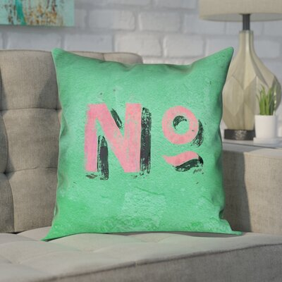 Enciso Graphic Wall 100% Cotton Pillow Cover Size: 16 x 16, Color: Green/Pink