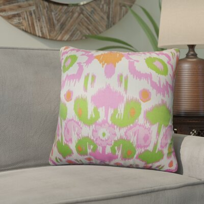 Rayyan Ikat Cotton Throw Pillow Color: Green