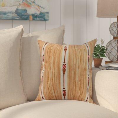 Bryson Oar Stripe Throw Pillow Color: Ivory, Size: 16 x 16