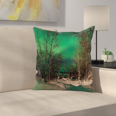 Snowy Frozen Road Cushion Pillow Cover Size: 16 x 16