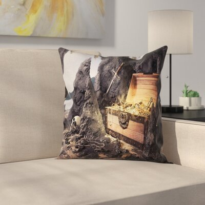 Fantasy Treasure Chest in Cave Cushion Pillow Cover Size: 24 x 24
