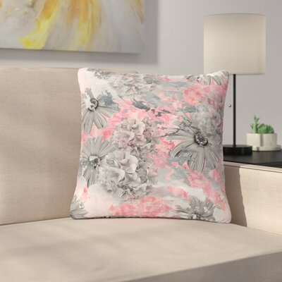 Zara Martina Mansen Floral Blush Outdoor Throw Pillow Size: 16 H x 16 W x 5 D, Color: Pink/Gray