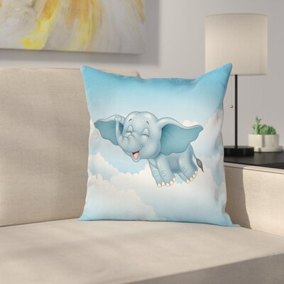 Baby Elephant and Clouds Square Pillow Cover Size: 16 x 16