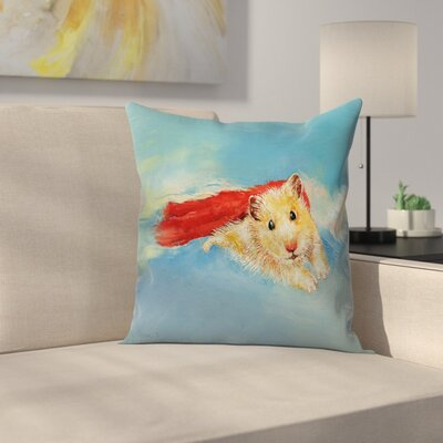 Hamster Superhero Throw Pillow Size: 18 x 18