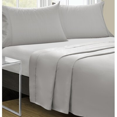 Cowden 4 Piece Solid 350 Thread Count 100% Cotton Sheet Set Size: Queen, Color: Gray