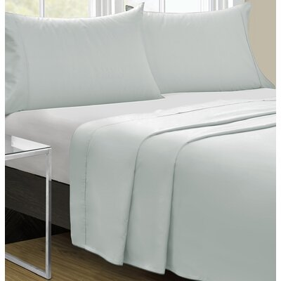 Cowden 4 Piece Solid 350 Thread Count 100% Cotton Sheet Set Size: Queen, Color: Blue